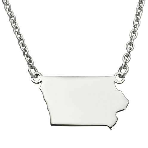 Personalized Sterling Silver Iowa Pendant Necklace