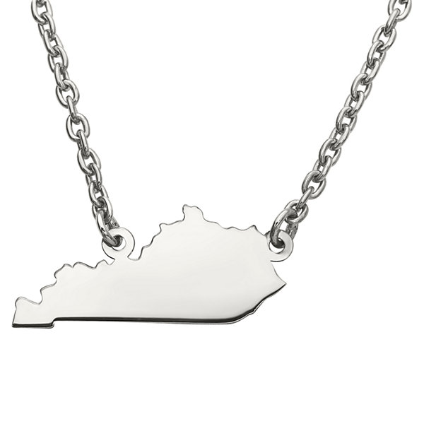 Personalized Sterling Silver Kentucky Pendant Necklace