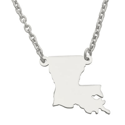 Personalized Sterling Silver Louisiana Pendant Necklace