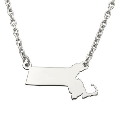 Personalized Sterling Silver Massachusetts Pendant Necklace