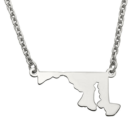 Personalized Sterling Silver Maryland Pendant Necklace