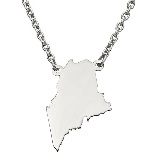 Personalized Sterling Silver Maine Pendant Necklace