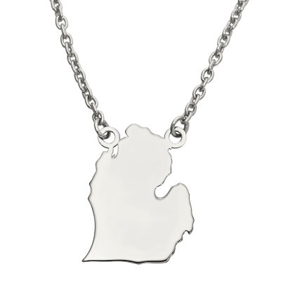 Personalized Sterling Silver Michigan Pendant Necklace