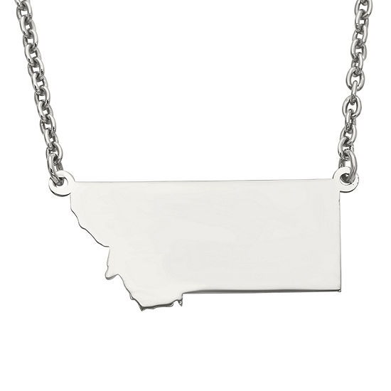 Personalized Sterling Silver Montana Pendant Necklace
