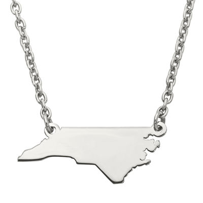 Personalized Sterling Silver North Carolina Pendant Necklace