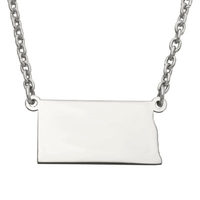 Personalized Sterling Silver North Dakota Pendant Necklace