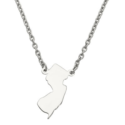 Personalized Sterling Silver New Jersey Pendant Necklace