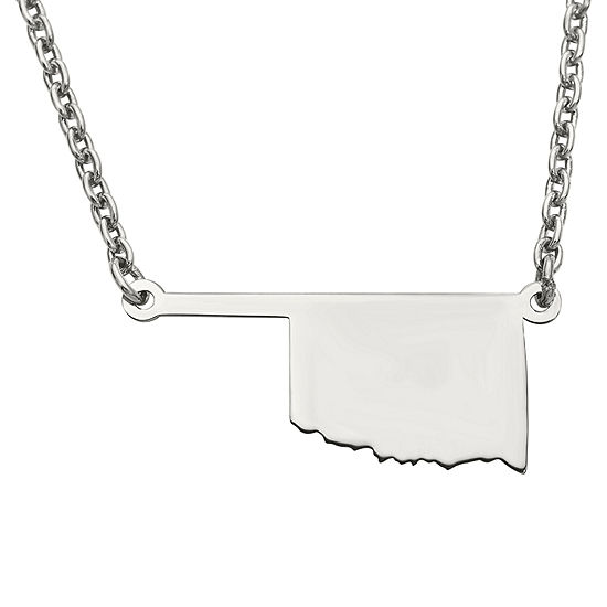 Personalized Sterling Silver Oklahoma Pendant Necklace