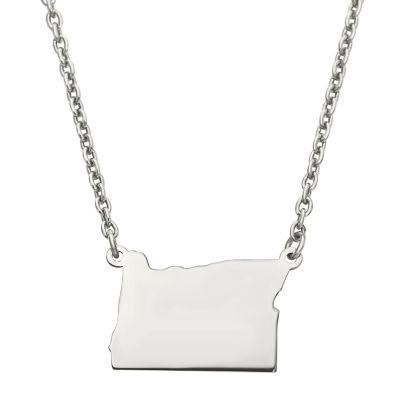 Personalized Sterling Silver Oregon Pendant Necklace