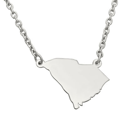 Personalized Sterling Silver South Carolina Pendant Necklace