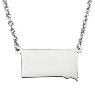 Personalized Sterling Silver South Dakota Pendant Necklace