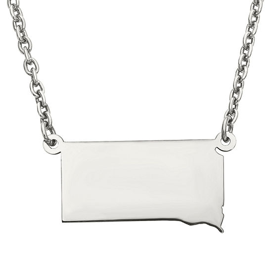 Personalized Sterling Silver South Dakota Pendant Necklace