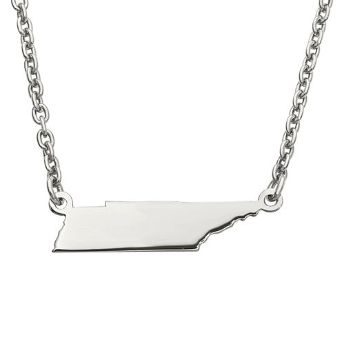 Personalized Sterling Silver Tennessee Pendant Necklace