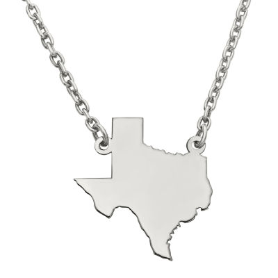 Personalized Sterling Silver Texas Pendant Necklace