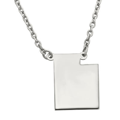 Personalized Sterling Silver Utah Pendant Necklace