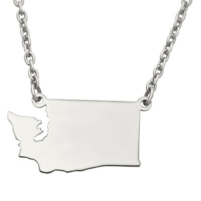 Personalized Sterling Silver Washington Pendant Necklace