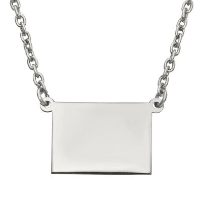Personalized Sterling Silver Wyoming Pendant Necklace