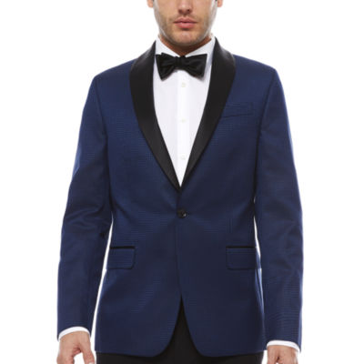 JF J. Ferrar Stretch Blue Houndstooth Tuxedo Jacket- Slim