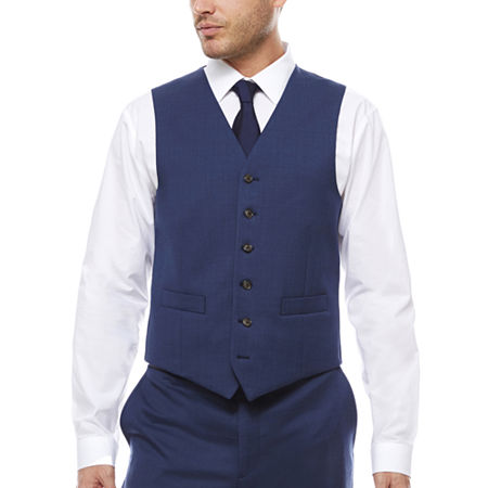 Stafford Travel Wool Blend Stretch Classic Fit Suit Vest, Small , Blue