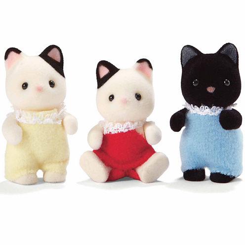 Calico Critters of Cloverleaf Corners Tuxedo Cat Triplets