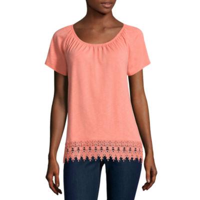 St. John's Bay Short Sleeve T-Shirt-Womens