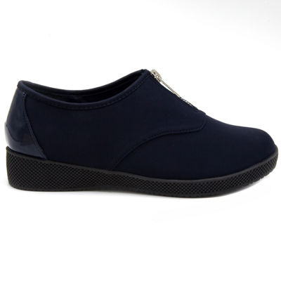 Towne By London Fog Womens Amie Slip-On Shoes Zip Round Toe