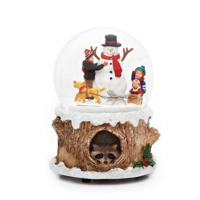 Roman 6 Inch Dogs Around Snowman Musical Snowman Snow Globe