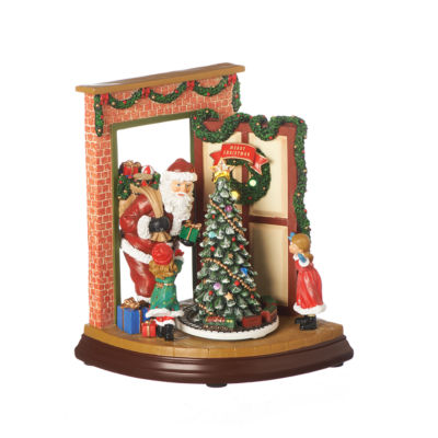 Roman 9 Inch Led Open Doo Santa Musical Tabletop Decor
