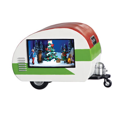 Roman 8.5 Inch Led Trailer With Christmas Scene Musical Christmas Tree Tabletop Decor