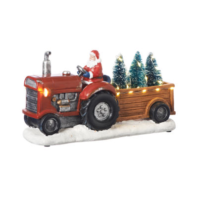 Roman 11 Inch Led Santa On Tractor Musical Tabletop Decor