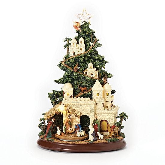 Roman 13 Inch Led Nativity Tree With Path Musical Religious Tabletop Decor