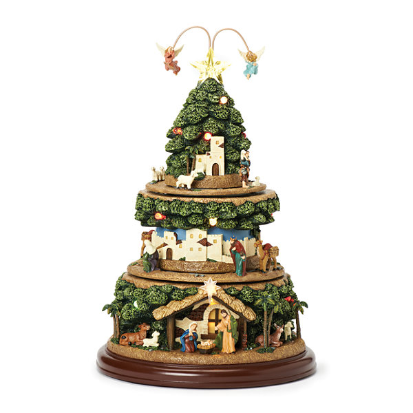 Roman 15 Inch Led Nativity Tree Musical Tabletop Decor