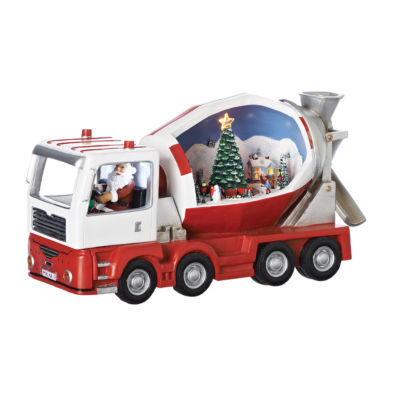 Roman 12.5 Inch Rotating Cement Truck Musical Santa Tabletop Decor