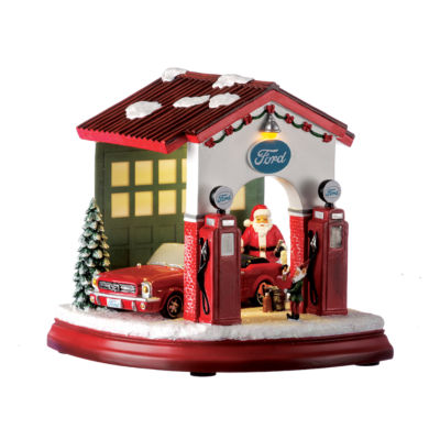 7 Inch Led Ford Garage With Elf And Santa Musical Santa Tabletop Decor