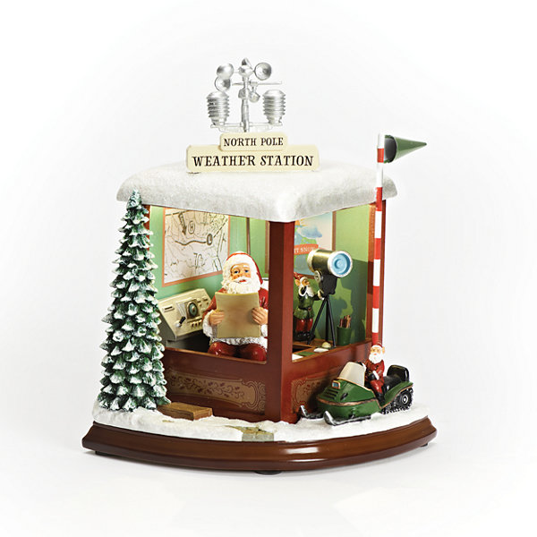 Roman 9 Inch Led Santa Weather Station Musical Tabletop Decor