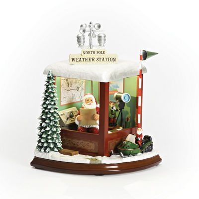 Roman 9 Inch Led Santa Weather Station Musical Santa Tabletop Decor