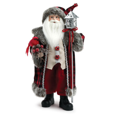 Roman 18 Inch Red Santa With Cardinal Tree Topper