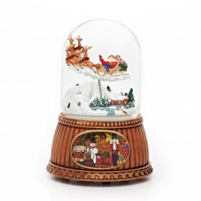 Roman 6.25 Inch Rotating Santa In Sleigh Snow Globe