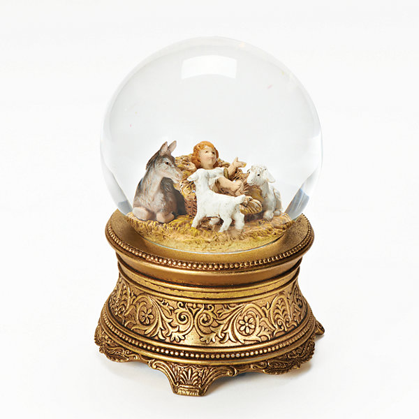 Fontanini Babe With Animals Musical Snow Globe