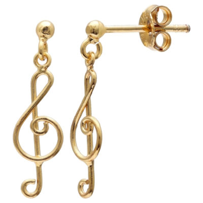 Silver Treasures Music Note Post 14K Gold Over Silver Drop Earrings