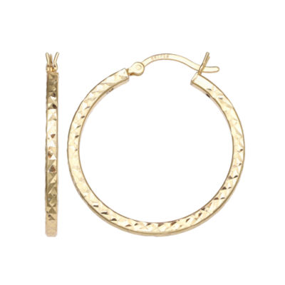 Silver Treasures Silver Treasures 14K GOLD OVER SILVER 20mm Hoop Earrings