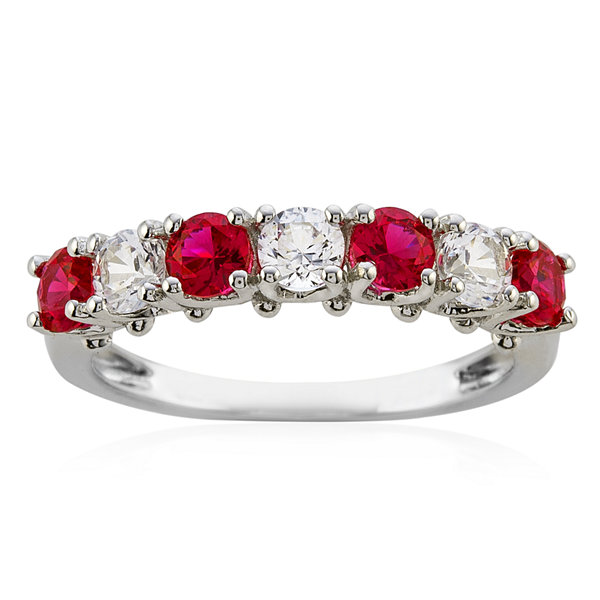 Lab-Created Ruby & Lab-Created White Sapphire Rhodium-Plated Ring