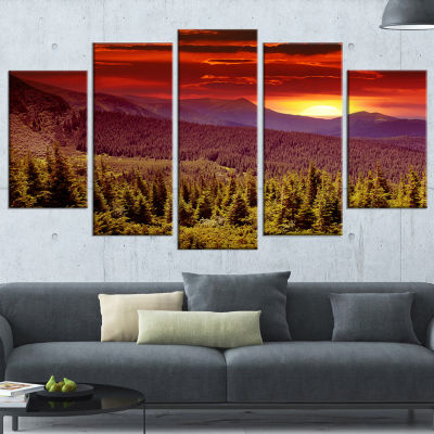 Designart Colorful Sunrise Over Mountains Landscape Photography Wrapped Canvas Print - 5 Panels
