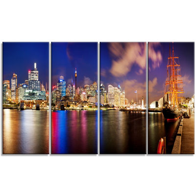 Designart Colorful Sydney Skyline Cityscape Photography Canvas Print - 4 Panels