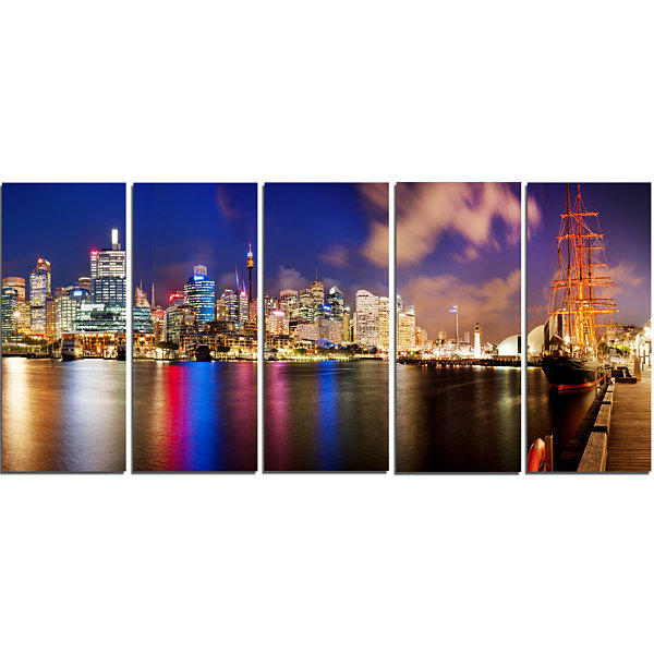Designart Colorful Sydney Skyline Cityscape Photography Canvas Print - 5 Panels