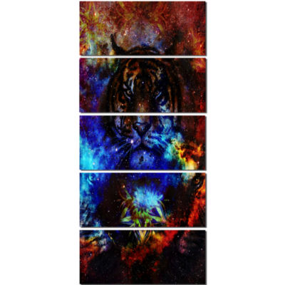 Designart Colorful Tiger Collage Animal Canvas ArtPrint - 5 Panels