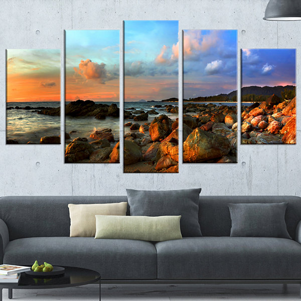 Designart Colorful Tropical Sunset Photography Wrapped Canvas Art Print - 5 Panels