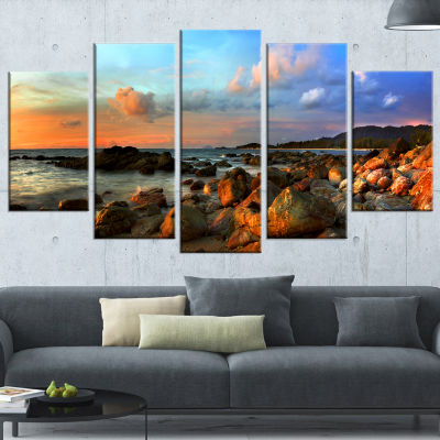 Design Art Colorful Tropical Sunset Photography Canvas Art Print - 5 Panels