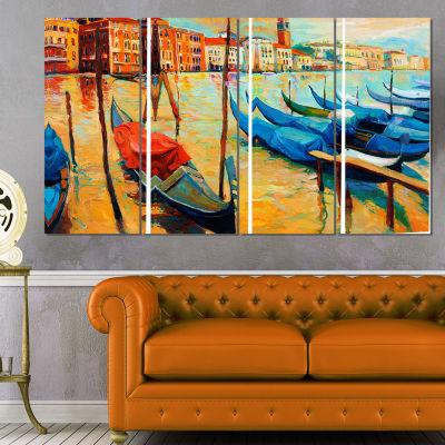 Designart Colorful Venice Landscape Painting Canvas Print -4 Panels