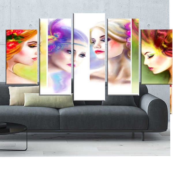 Designart Colorful Women Face Collage Abstract Portrait Wrapped Canvas Print - 5 Panels